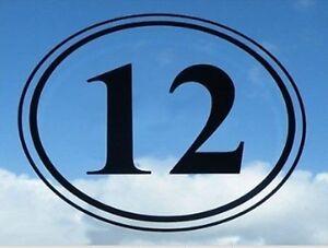 "SET of 3 7"" x 8"" Oval Vinyl House Decal Bin Sticker Window Numbers Letters"