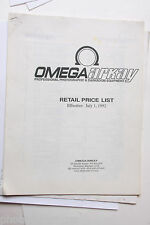 Omega 1992 Retail Price List Original - Used B31