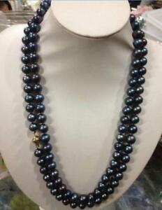 beautiful 54 inch 8-9MM black TAHITIAN Pearl Necklace 14K clasp