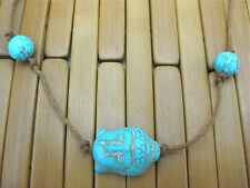 TURQUOISE TIE ON STRING BUDDHA & BEADS YOGA BRACELET ANKLET KARMABEADS brown