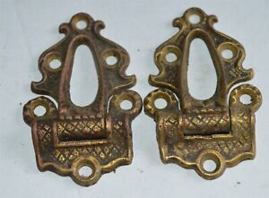 Pair smaller Antique Fancy Cast Brass Ice Box Hinges Hardware Trunks Furniture