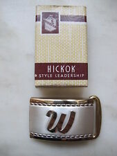 Vintage HICKOK Belt Buckle Initial W with Box Gold & Silver Tone NEW Old Stock
