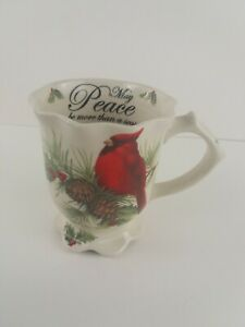 Cracker Barrel Season of Peace Cardinal Scalloped Stoneware Mug Cup