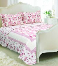 Vintage Country Cottage Style Floral Patchwork Quilted Bedspread 230x240cm and 2 Colorado