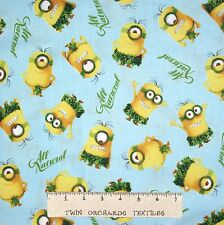 Disney Pixar Fabric - All Natural Minion Toss Blue - Quilting Treasures YARD