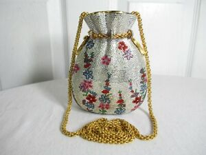 JUDITH LEIBER SWAROVSKI CRYSTAL MISERS POUCH MONEY BAG MINAUDIERE CLUTCH BAG