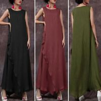 Plus Size ZANZEA Womens Sleeveless Tank Kaftan Summer Beach Long Shirt Dress Tee