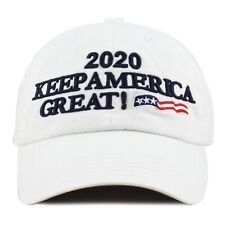 The Hat Depot Exclusive Trump 2020 Keep America Great Cotton Cap-White