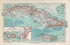 Mapa Map 1905: cuba. puerto rico. puerto de Santiago de Cuba. isla océano