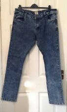 989 Ze Enzo Mens jeans 38L blue stone washed button fly straight faded
