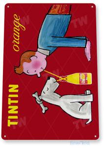 TIN SIGN Tintin Orange Drink Soda Cola Kitchen Cottage Retro Metal Label B691