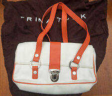 Trina Turk bag - cream canvas/fabric with orange leather straps - EUC