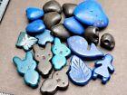 Hard stone blue black bead job lot Miffy rabbit heart leaf craft jewellery makin