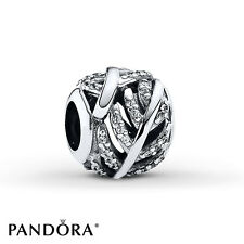 PANDORA CZ PAVE LIGHT AS A FEATHER CHARM SILVER NEW