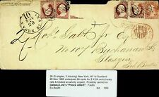 US 1860 FAMOUS PEOPLE 5v ON COVER FROM NY TO GLASGOW SCOTLAND GB