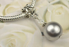 Light Gray Crystal Pearl Dangle Charm Bead European Style w Swarovski Elements