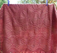 """Lovely Silk Embroidered Table Cloth 56"""" x 56"""" Burgundy With Gold Lines"""