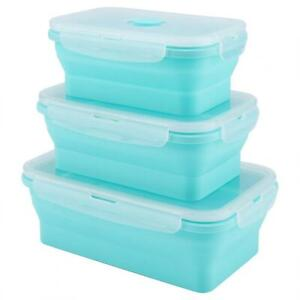Portable Silicone Lunch Box Set Folding Microwave Safe Lunchbox Food Container