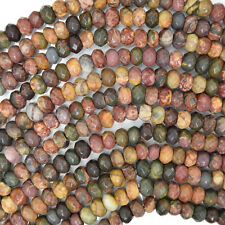 "6mm faceted matte multicolor picasso jasper rondelle beads 15"" strand"