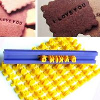 Alphabet Letter Number Cookie Press Stamp Embosser Fondant Mould Cake w/