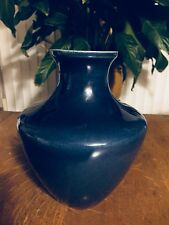 "Cobalt Blue Signed Monochrome Vase 8 1/2"" Tall Vintage"