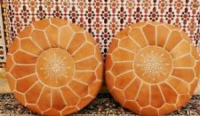 Set of 2 Moroccan Pouf Ottoman Leather Handmade Pouffe Footstool ***NEW***