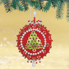 """Tannenbaum"" Kit makes 2 Ornaments Christmas red satin ball sequins, beads, pins"