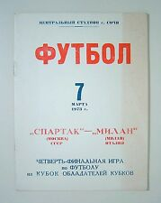 Programme Spartak Moscow - Milan Milan Italy 1973-74 Cup Winners Cup