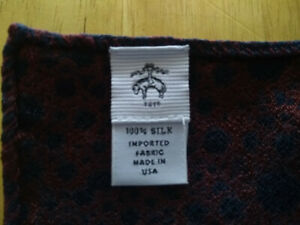 NWOT Brooks Brothers Black Fleece Navy Burgundy Silk Pocket Square