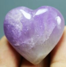 Natural Amethyst Quartz Crystal Fossil Stone Heart shaped Healing