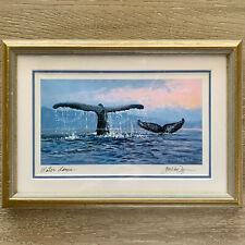 """Water Dance"" Whale Art Print by Jon Van Zyle (Alaska), Framed, Matted, Signed"