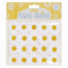 20 x Craft Fabric Daisies Embellishments Card Making Floral Daisy Toppers Easter