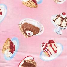 DESSERT CAKE PIE ICE CREAM ON PINK Cotton Fabric BTY for Quilting, Craft Etc