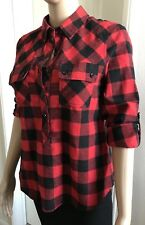 LOVE TREE Women's PLAID CHECKERS FLANNEL Button Down Shirt TOP sz M