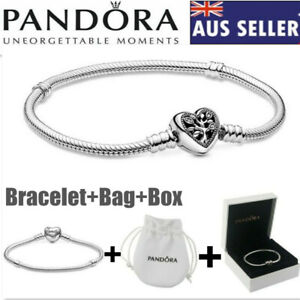 Genuine Silver Pandora Moments Family Tree Heart Chain Charm Bracelet +Bag+Box