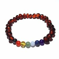 100% Genuine Adult Chakra Polished Cognac Baltic Amber Gemstone Stretch Bracelet