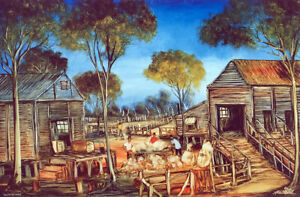 """PRO HART, Limited edition colour offset lithograph  """"Sorting the Wool' 1988"""