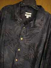Merona Men Classic Fit Blue Rayon Hawaiian Shirt XXL Short Sleeve Button Down