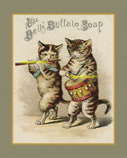 Vintage BELL'S BUFFALO SOAP 8x10 advertisement w/ cats kitten art print picture
