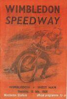 Speedway Programme>WIMBLEDON DONS v WEST HAM HAMMERS July 1968
