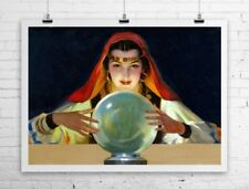 Mysterious Fortune Teller With Crystal Ball Rolled Canvas Giclee Print 32x24 in.
