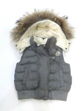 Moncler Gray Wool Down Puffer Vest w/Detachable Raccoon Collar sz 5-6 Euro 128cm