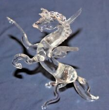 Blown Glass Handmade Pegasus Rearing on Hind Legs. Mythical Winged Horse