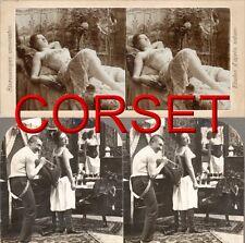 20 Stereofotos, Damen eng  geschnürt in alten Korsetts Mieder Corset Victorian