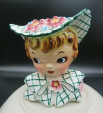 Vintage Lefton Miss Dainty Head Vase #1955 Signed Geo Lefton