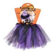 Childrens Purple Black Witch Set Tutu Headband Halloween Fancy Dress Costume