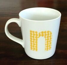"""NEW Crate & Barrel White Porcelain Mug with Initial """"N"""" Yellow Dot Pattern"""