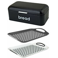 RETRO STYLE STEEL BREAD BIN KITCHEN WITH PLASTIC ANTI SLIP SURFACE SERVING TRAY