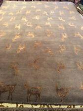 Tibetan 6 x 9 oriental area rug Nepal carpet gray gold silk & wool hand made