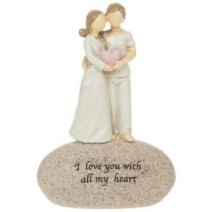 I Love You With All My Heart Sentimental Small Pebble Couple Ornament Figurine